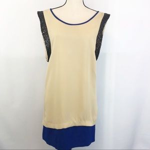 NWT C. Luce Beige & Blue Color Block Shift Dress